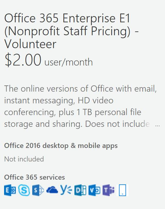 Office 365 volunteer discounts - Software - Church IT Network